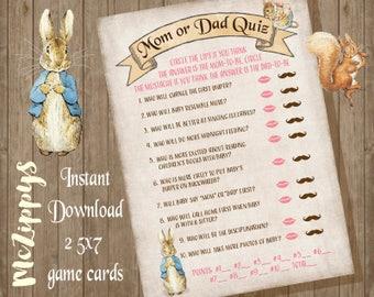 Peter Rabbit Baby Mom or Dad Quiz INSTANT DOWNLOAD Baby shower game