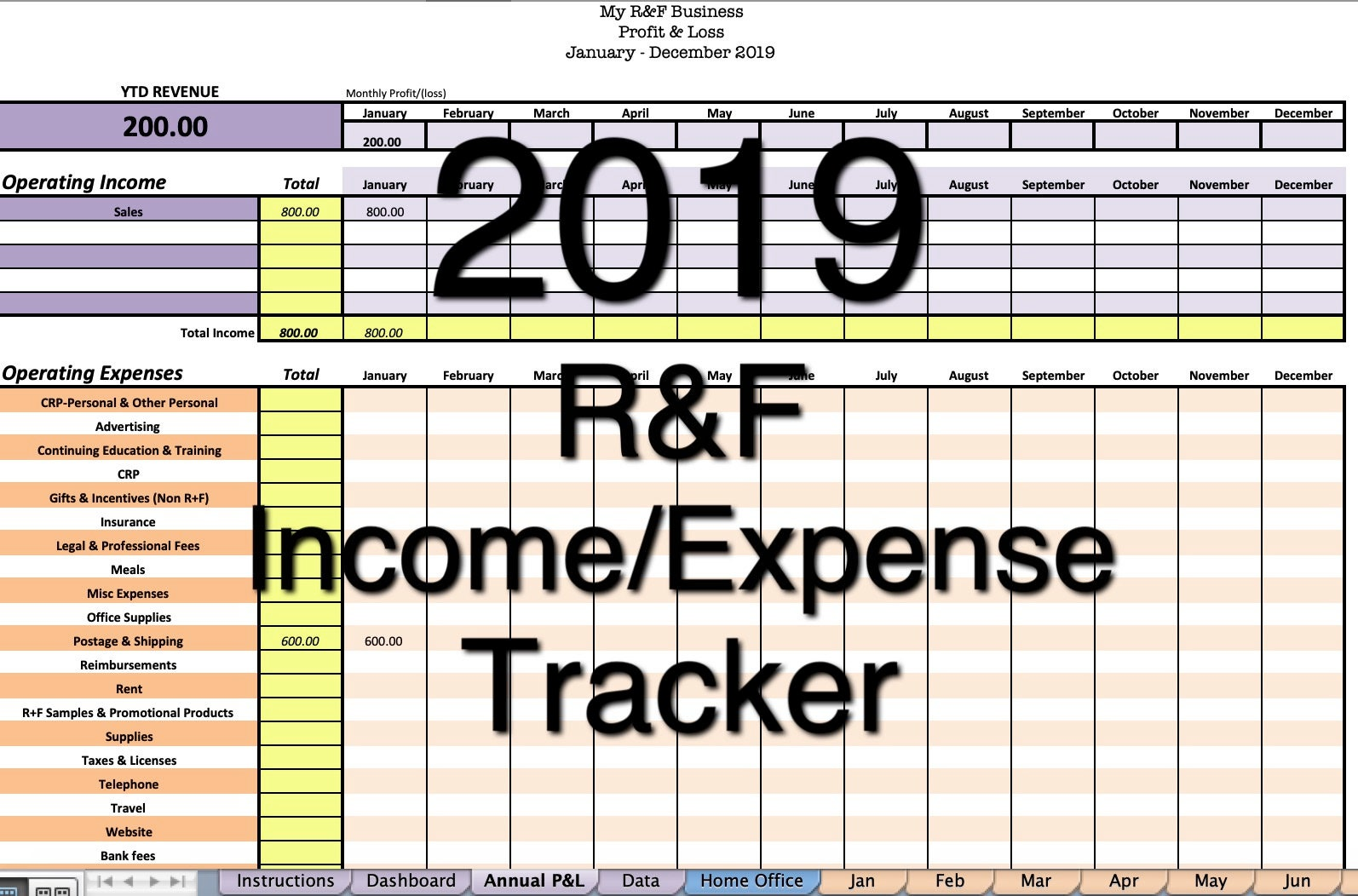 2019 rodan fields income  expense tracker exclusive monthly