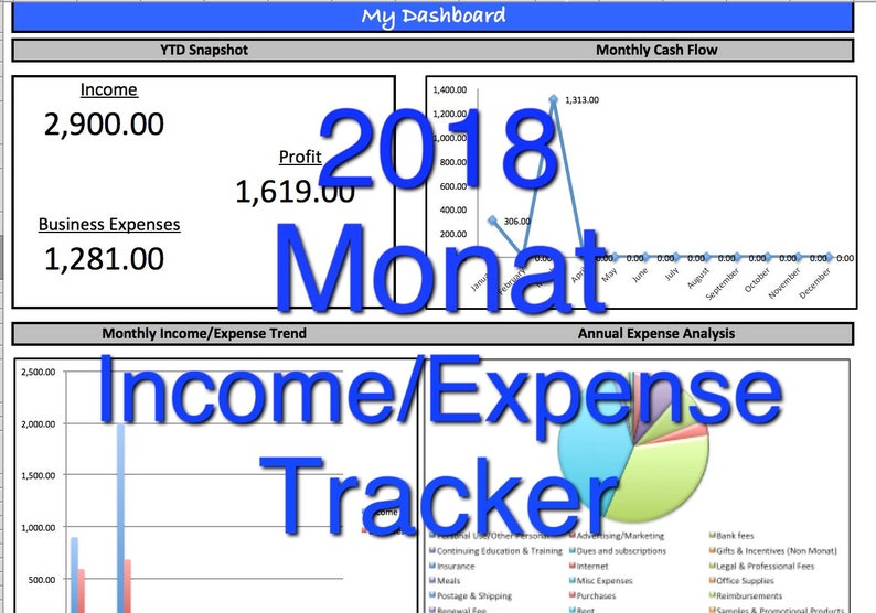 2018 Monat Incomeexpense Tracker Monthly Cash Flow Spreadsheet User