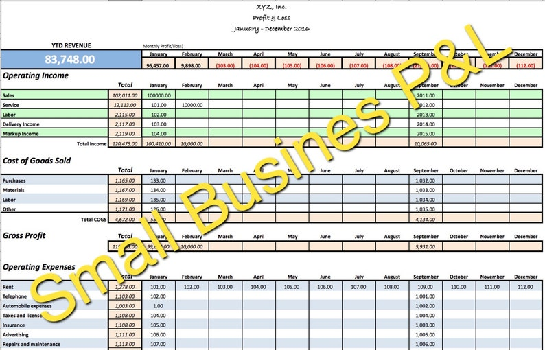 small business income  expense tracker monthly budget and cash