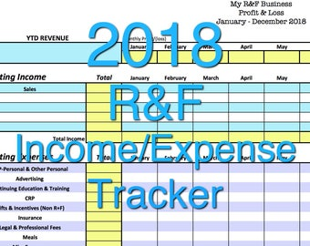 2018 Rodan + Fields Income/Expense Tracker, Exclusive Monthly Cash Flow Spreadsheet, User-Friendly Profit & Loss System, Excel Template