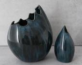 Blue Ceramic Vase  -  Contemporary Porcelain Vase - Sculpture Flower Vase