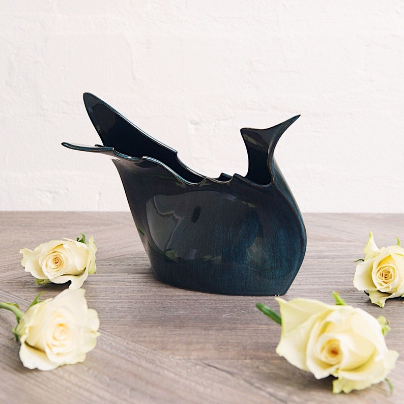 Blue Ceramic Vase    Contemporary Porcelain Vase  Sculpture image 0