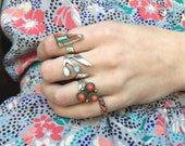 Coral Trio - 6.75 Vintage Native American Sterling Snake Eye Ring Signed IHMSS