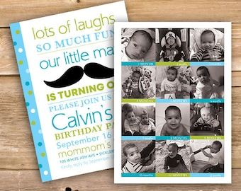 Boys 1st Birthday Invitation 12 Month Pictures One Year Old Photo First Mustache Blue Green Printable Instant Download