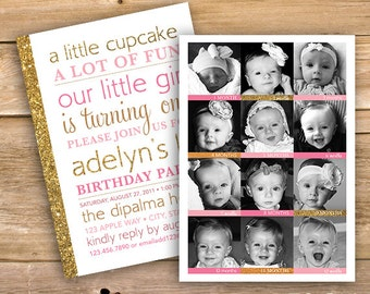 Girls 1st Birthday Invitation 12 Month Pictures One Year Old Photo First Pink Gold Glitter Printable Instant Download