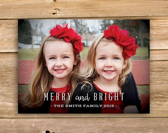 Merry & Bright Christmas Card, Personalized Photo Christmas Card, Photo Holiday Card, printable, instant download