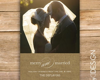Newlywed Christmas Card, Merry and Married Holiday Card, Wedding Holiday card, Personalized Photo, Holiday Card, printable, instant download