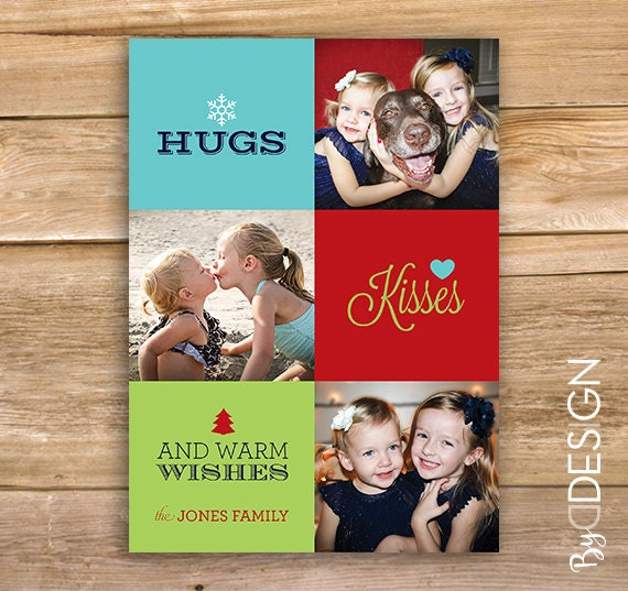 Hugs Kisses And Warm Wishes Christmas Card Personalized Etsy