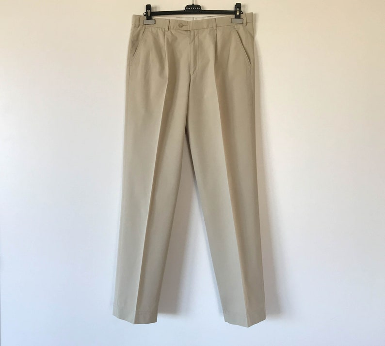 Vintage Mens Beige High Waist Trousers Trapered Trousers Etsy
