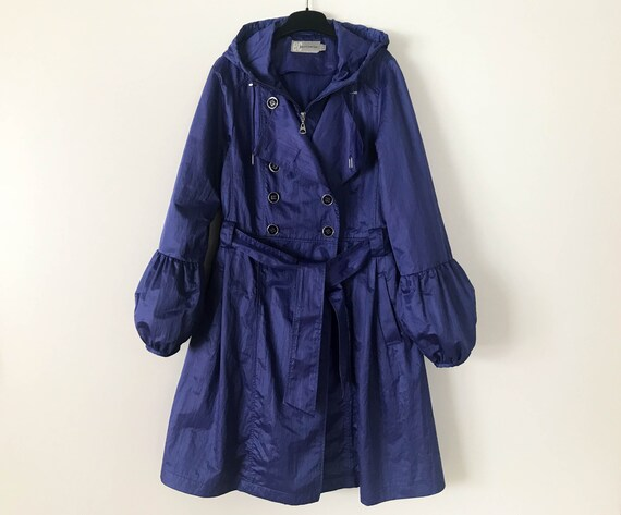 Purple Trench Coat Hooded Women's Double Breasted