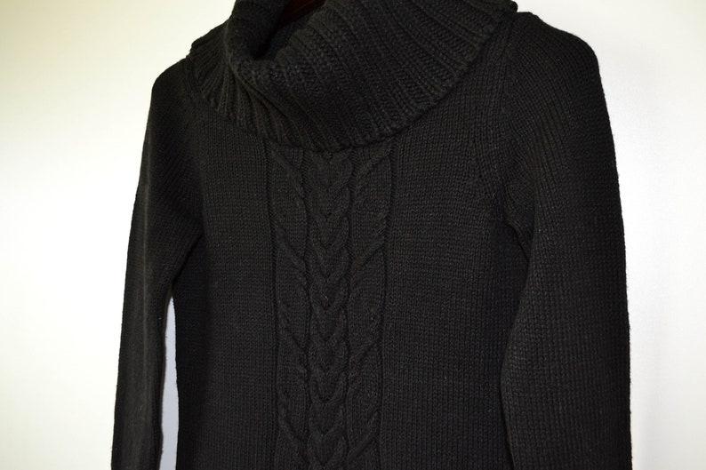 Warmer Strick Kleid Frauen lange Strickjacke schwarz ...