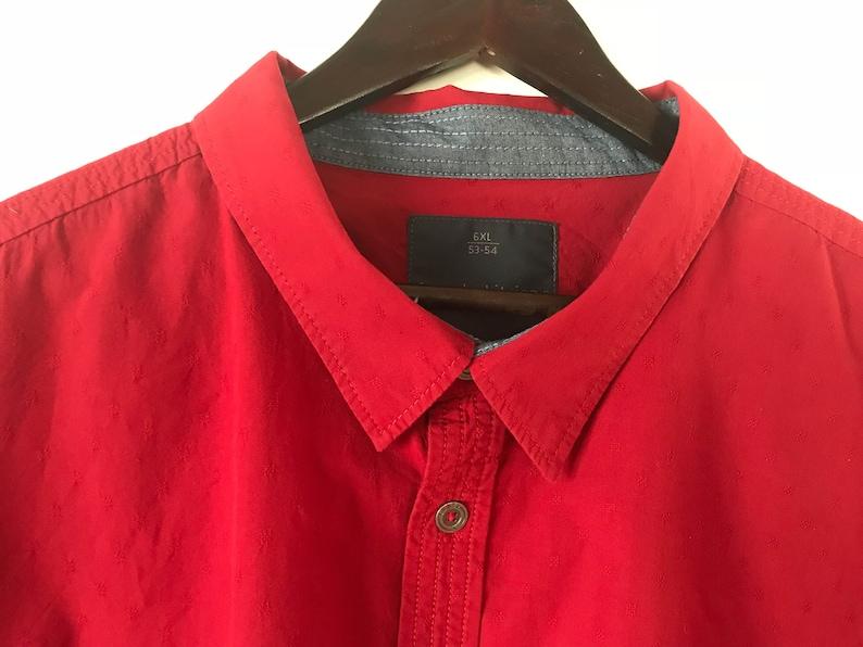 Men Cotton Shirt Red Shirt Men Button up Shirt Short Sleeve Shirt Cotton Work Shirt Extra Large for big man Size Shirt