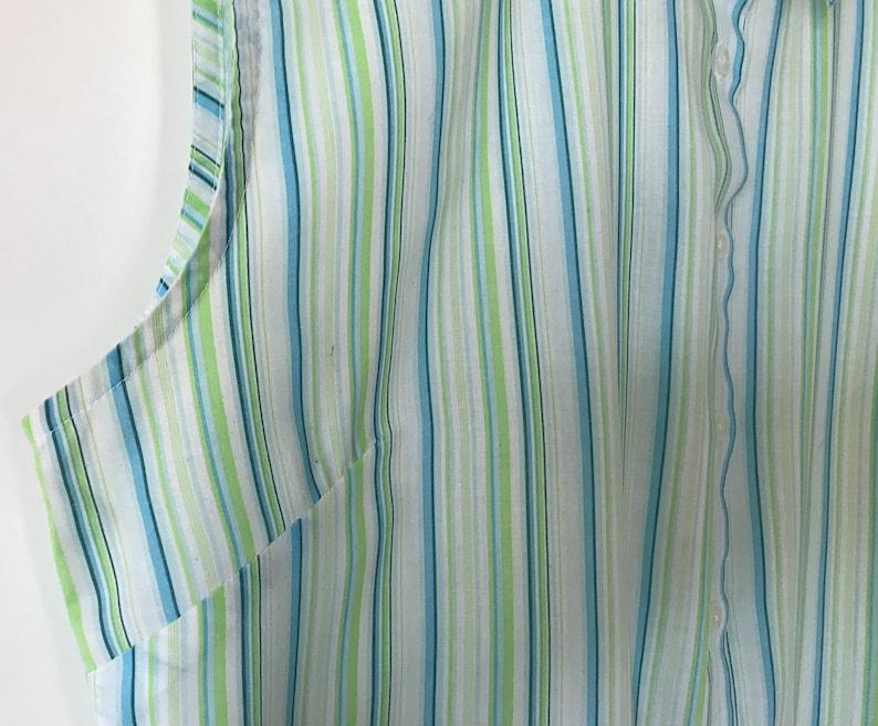 Vintage Women Shirt Thin Green Blue Striped Shirt Women Home Shirt Lightweight blouse sleeveless Shirt Gift for Mom shirt Size Medium