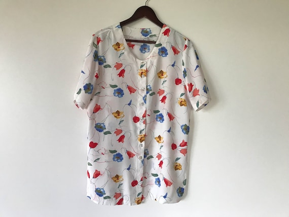 Vintage Women Size LXL crazy pattern blouse blouse shirt shirt summer short sleeves 80s 90s