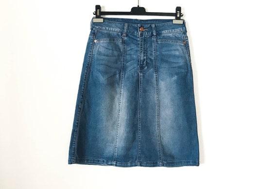 781b4f53feb Vintage Light Blue Denim Skirt Paneled A line Mini Jeans Skirt