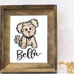 Light Beige Brown Maltese / Maltipoo Personalized Pet Name Print, Watercolor, Custom Pet Name, Maltese, Maltipoo, Mom Gift, Dad Gift,
