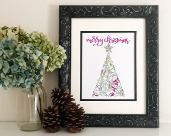 """Merry Christmas with Holiday Tree - DIGITAL DOWNLOAD 8x10"""" PDF, Holiday art, Christmas print, Hand Lettering, Brush Lettering, Calligraphy"""