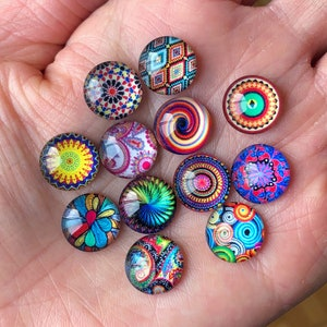 Ab clear whimsical print 12mm resin cabochons 10 pcs