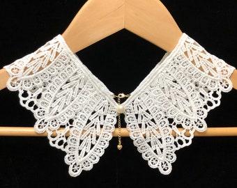 Medium Fake Lace Collar Lace cape Layering Collar Cotton Lace Cape Collar Fake Collar
