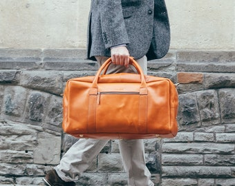 Leather duffle bag weekender bag holdall overnight cabin travel luggage for men - Niche Lane Pioneer Cognac