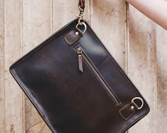 Leather iPad clutch crossbody bag, MacBook case, A4 leather Folio case for men and women - iPouch Pro