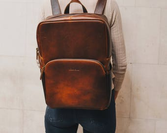Leather Backpack Rucksack suitable for 15'' Laptop for men and women - Porter by Niche Lane