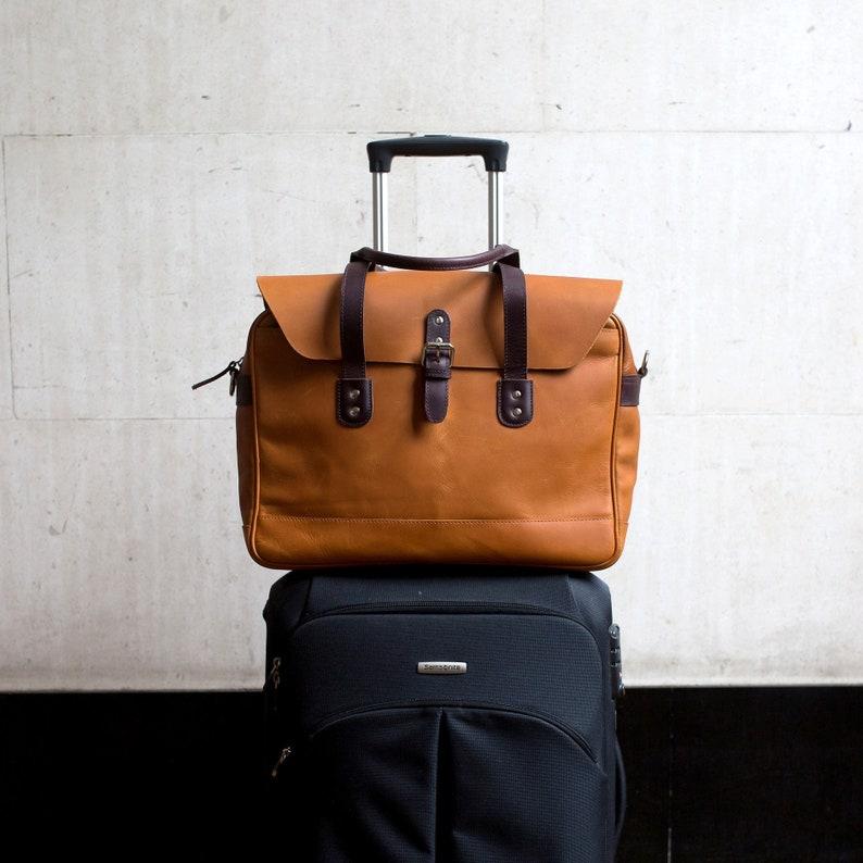 8c340c2080 Leather Travel Briefcase 15.6 Laptop Messenger Satchel