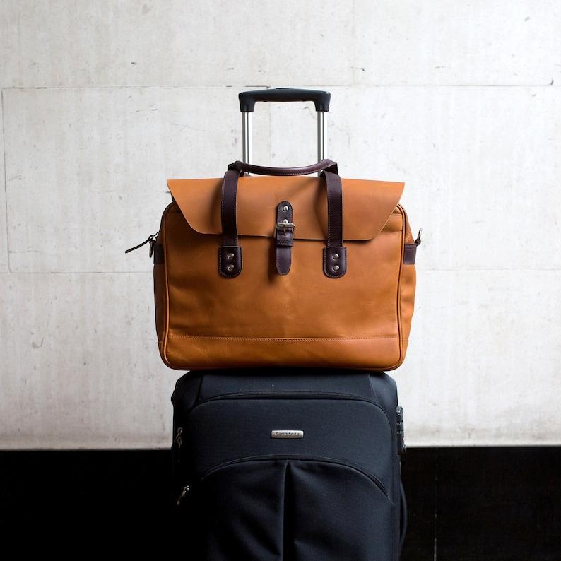 70f9b33e6fa6 Personalised Leather Travel Briefcase, 15.6
