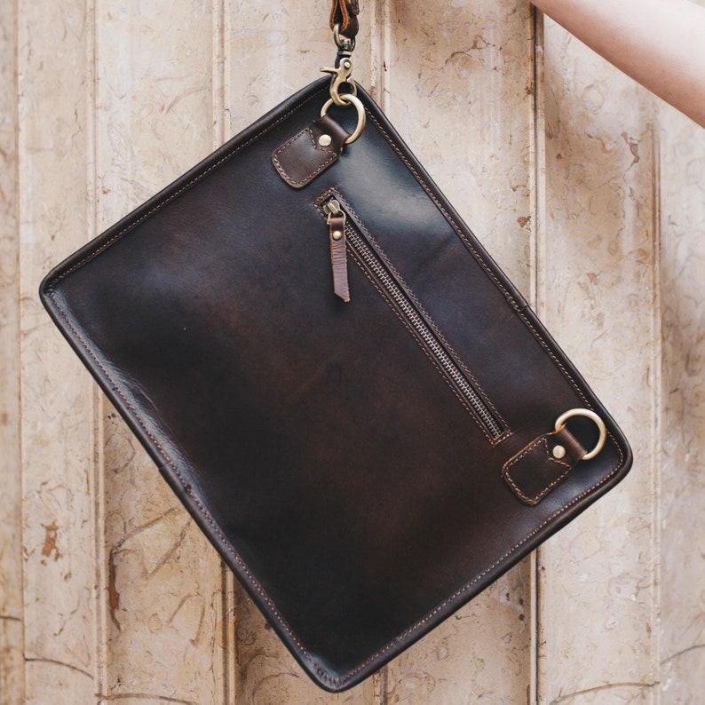 1931e5853f Leather iPad clutch crossbody bag MacBook case A4 leather