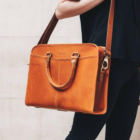 15a5689ddc Leather briefcase 14 inch laptop satchel Messenger Bag for men