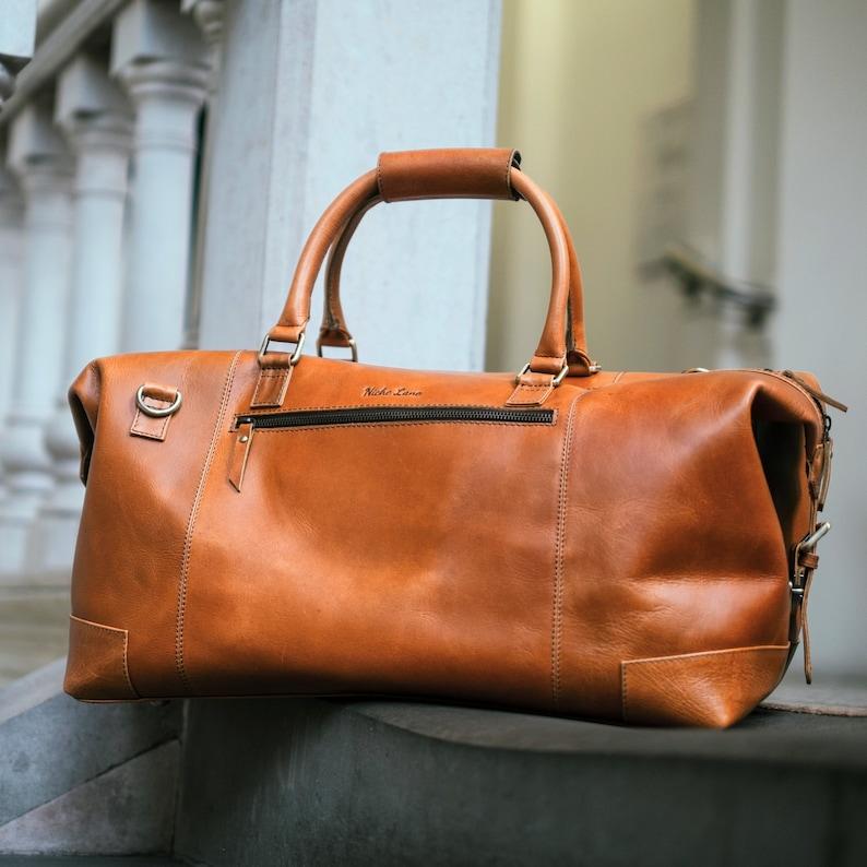24f71271506c Leather weekender Bag holdall duffel overnight cabin luggage