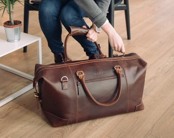 Leather weekend Bag  overnight holdall cabin luggage travel bag for men and women - Niche Lane Aviator Coffee