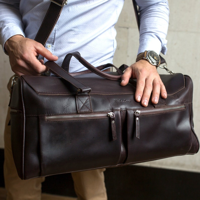 90059f35c7 Leather Double Zippers Weekender Holdall Overnight Travel