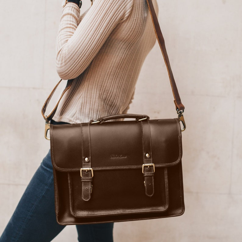 7d73f26088 Leather Satchel messenger bag laptop briefcase crossbody