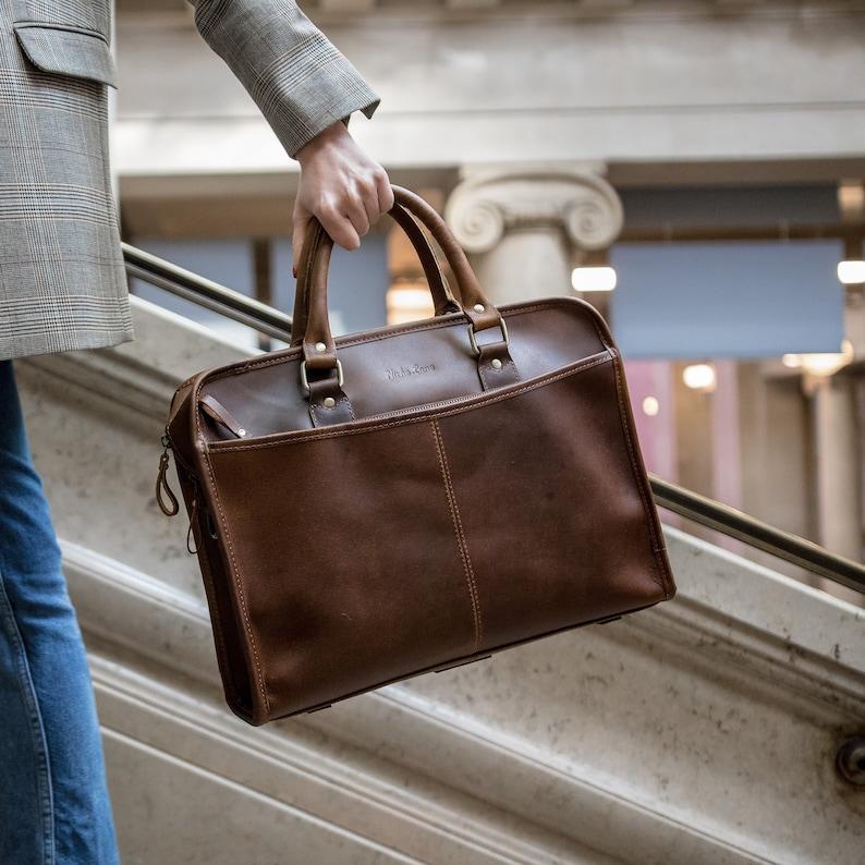 436e481369 Leather briefcase laptop satchel Messenger Bag for men and
