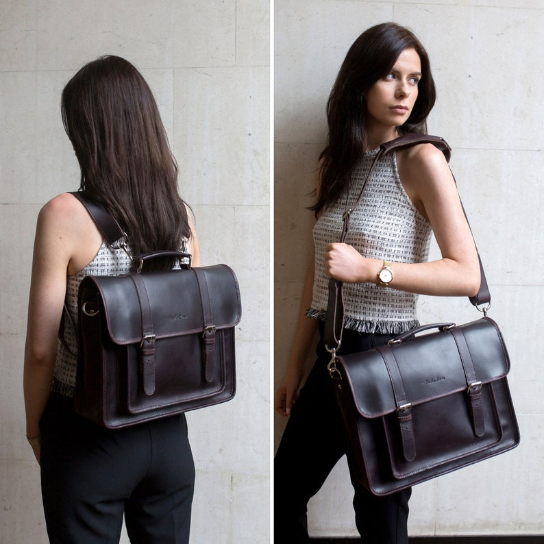 e8219321cb Convertible Leather Backpack Satchel Briefcase Crossbody