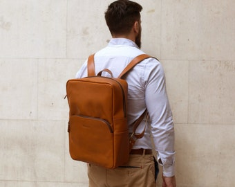 Leather Laptop Backpack Rucksack suitable for 15'' Laptop for men and women - Porter by Niche Lane Tan