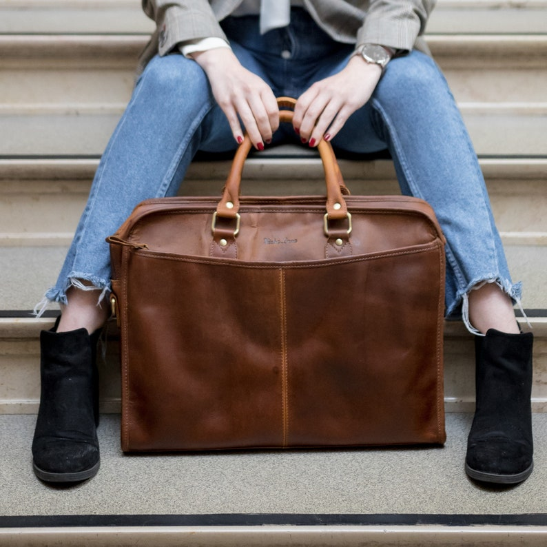 84765bd8a7 Leather briefcase with shulder strap 15.6 inch laptop satchel