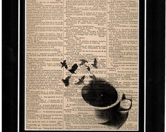 103 Dictionary Art cup of coffee birds flying away