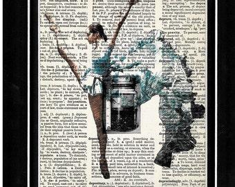 321 Ballerina/Dance/ vintage dictionary paper art