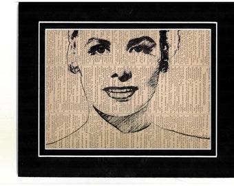 240 Art print of Lena Horne on vintage dictionary paper