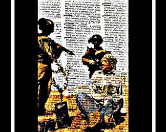544 Vintage art on vintage dictionary paper