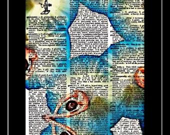 424 Ballerina/Ballet/dancer/dancing art print vintage dictionary paper