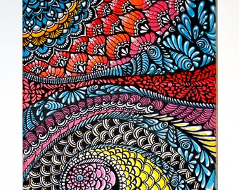 FISH CONFUSION Decorative Painting Abstract Art Handpainted Zentangle Housewarming Gift Medium Size Freehand