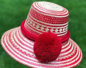 9567eec20 Pom pom straw hat   Etsy