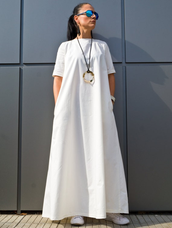 White Plus Size Maxi Dress/ Boho maxi dress/ Women\'s Clothing/ Kaftan Maxi  dress/ Caftan Long dresses/ Cotton Boho Dress by YoLineXL