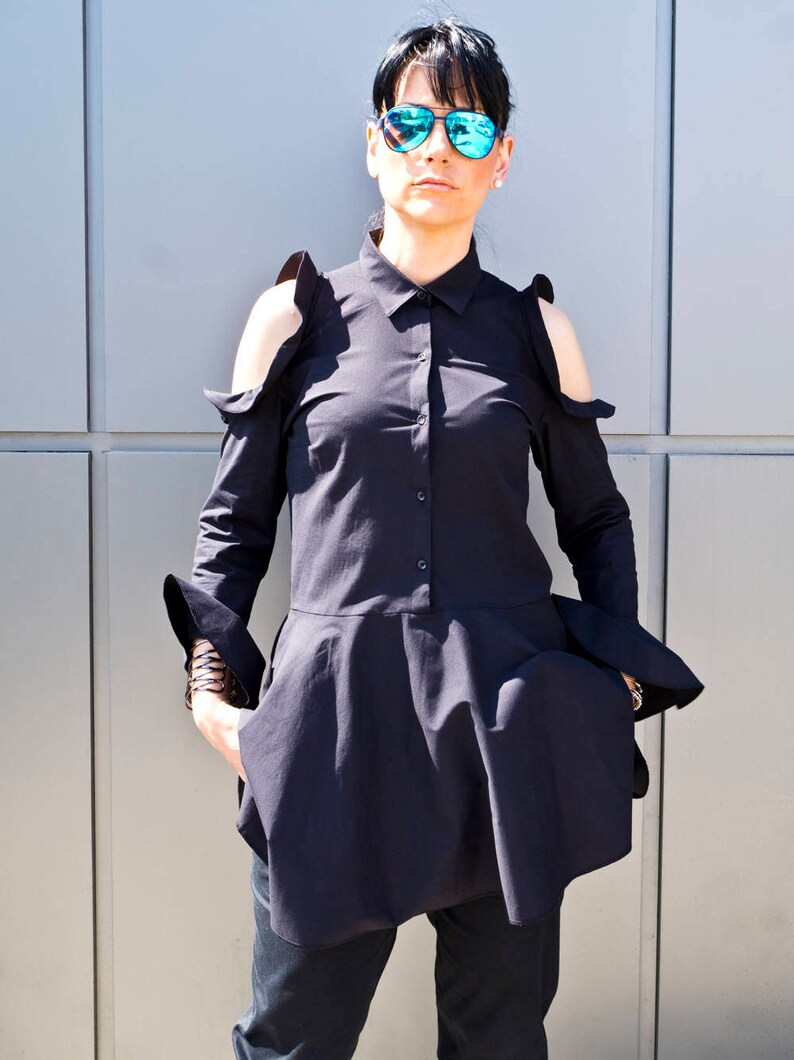 Black Party Shirt for women Extravagant Black Maxi Tunic Top Plus Size Clothing Womens Clothing Long Sleeves Tunic by YoLineXL