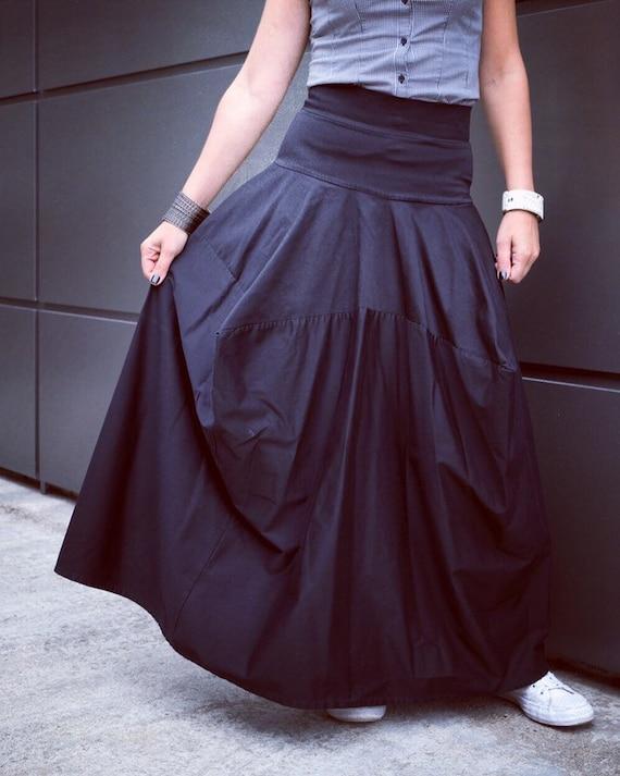 98512205c7eb Asymmetrical Black Long Skirt/ Loose Oversize Skirt/ Plus Size | Etsy