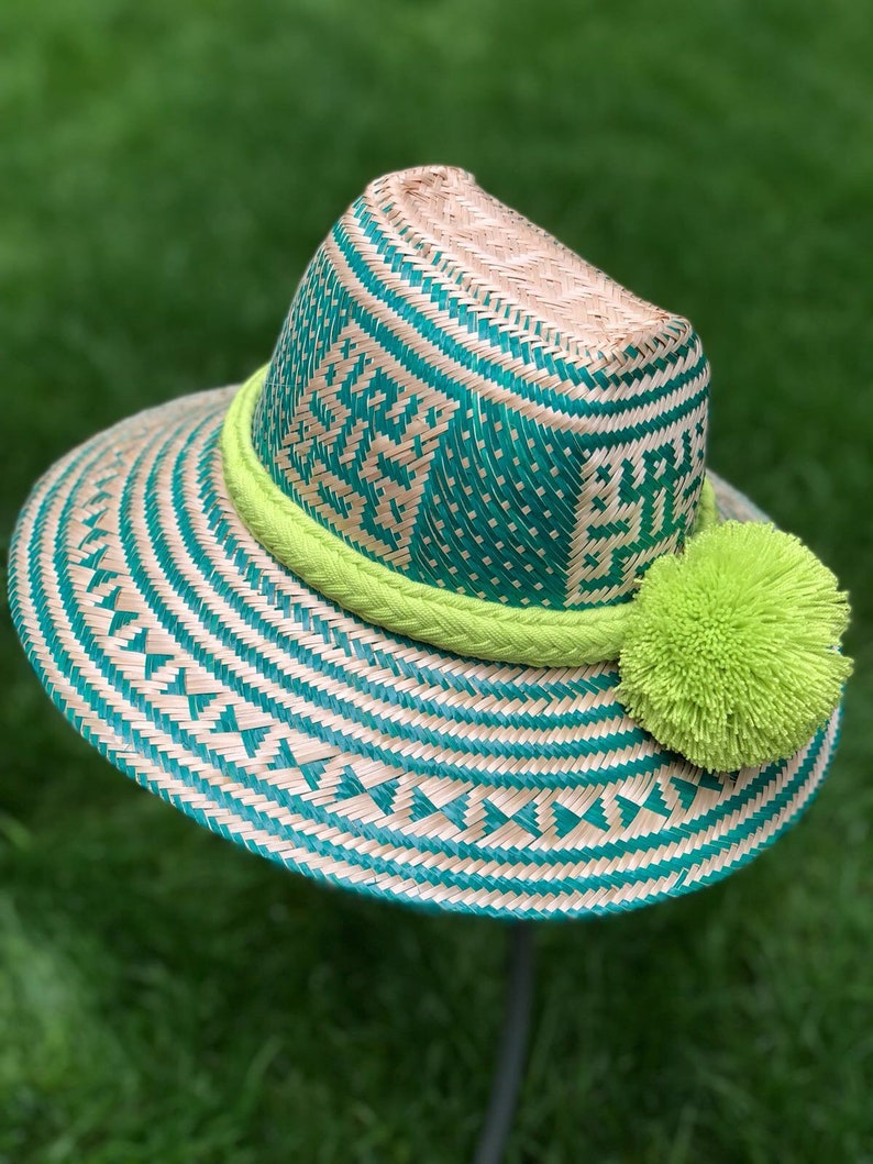 00659ab5bac Fedora hat Green Sombrero Straw Summer Hat with Pompoms Formal